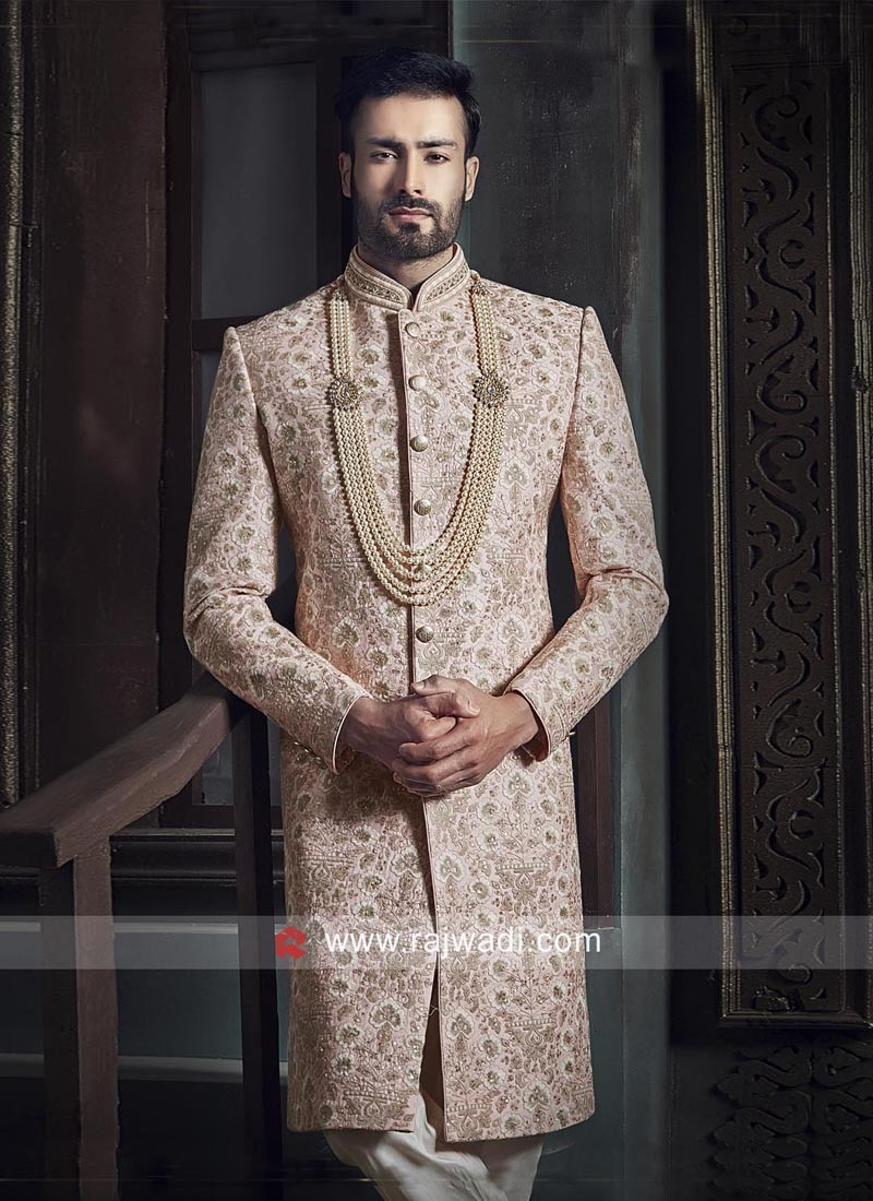 Stylish Peach Color Indo Western Sherwani