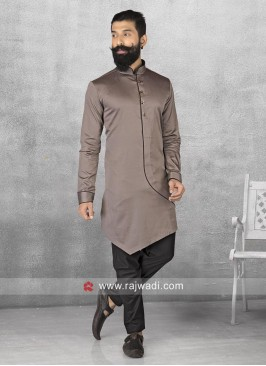 Stylish  Slate Grey Color Pathani Set