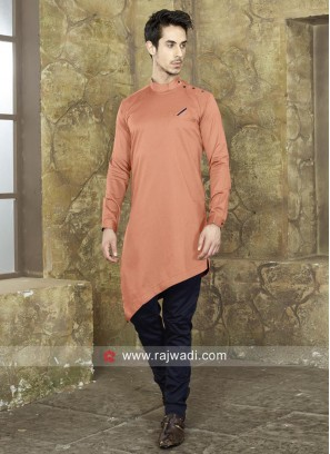 Stylish Peach Color Pathani Set