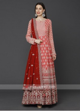 Stylish Peach & Red Color Anarkali Suit