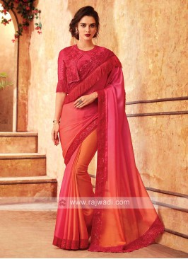 Stylish Pink And Orange Saree