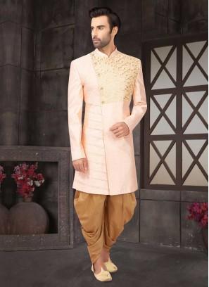 Stylish Pink Color Raw Silk Indo-Western