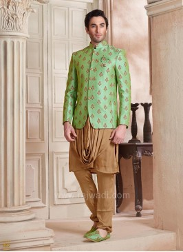 Stylish Pista Color Koti With Designer Kurta and bottom