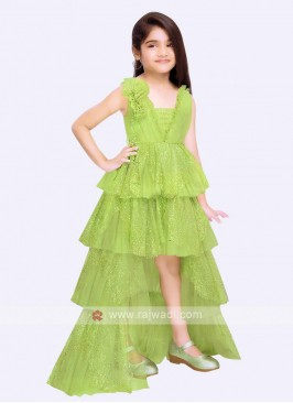 stylish pista green color gown