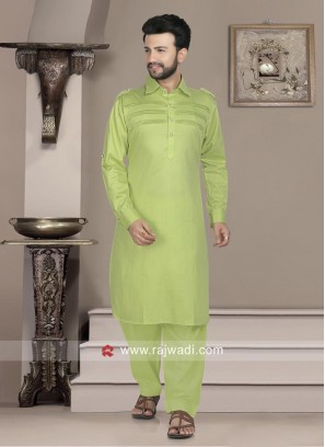 Stylish Pista Green Pathani Set