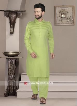 Stylish Pista Green Pathani Set