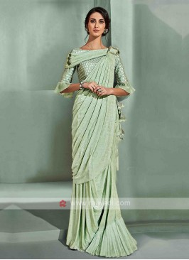 Stylish pista green ready pleated saree