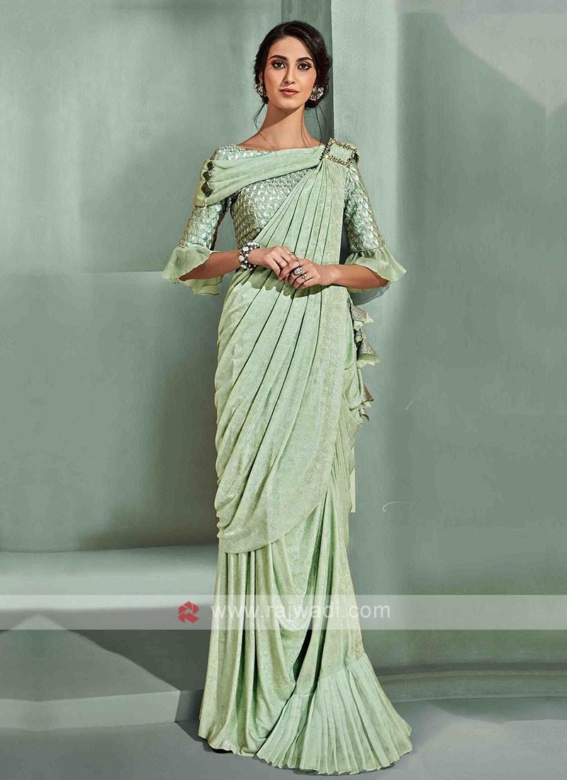 Stylish pista green ready pleated saree