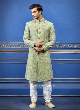 Stylish pista green sherwani
