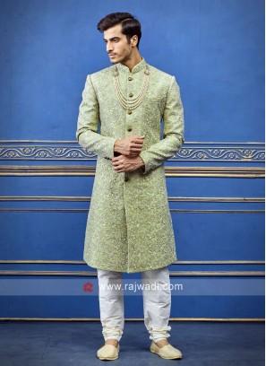 Stylish pista green sherwani