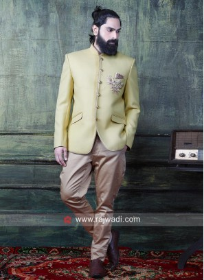 Stylish Jodhpuri Suit in Golden Yellow