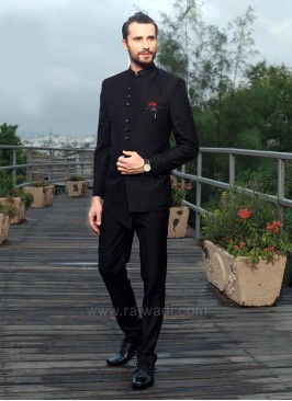 Stylish Plain Jodhpuri Suit in Black Color