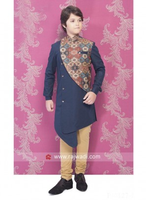 Stylish Printed Medium Blue Indo Western