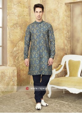 Stylish Printed Pathani Suit