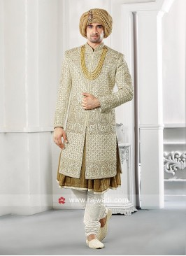 Stylish Raw Silk Fabric Groom Sherwani