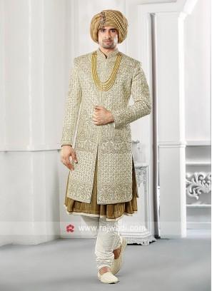 Stylish Raw Silk Fabric Groom Sherwani