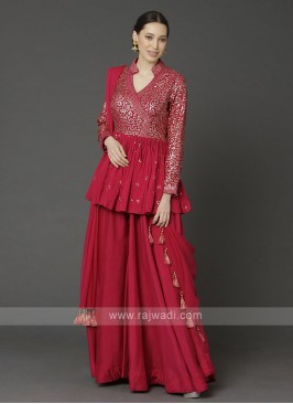 Stylish Red Color Gharara Suit