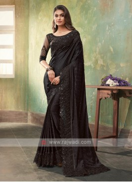 Stylish Satin Silk Black Saree