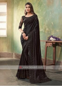 Stylish Satin Silk Black Saree