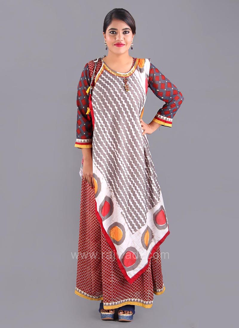 Stylish Short Long Layered Kurti with Latkan