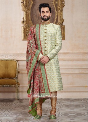 Pista Green Wedding Indo Western With Stylish Dupatta