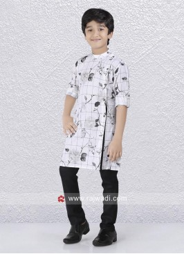 Stylish Side Buttons Kurta and Black Bottom