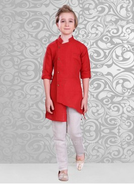 Stylish Side Buttons Kurta and Off White Bottom