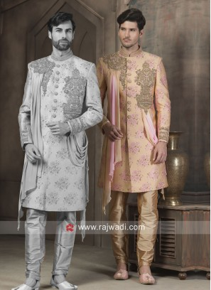 Stylish Silk Fabric Patch Work Sherwani