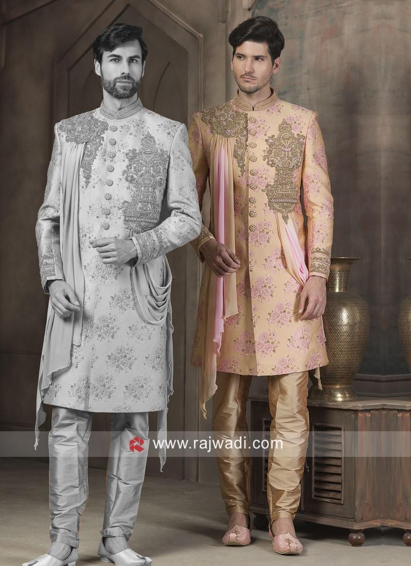 Stylish Silk Fabric Patch Work Sherwani