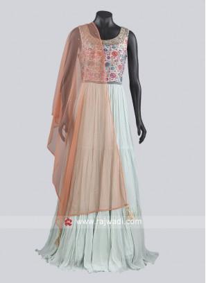 Stylish Sky blue Floor Length Anarkali Suits