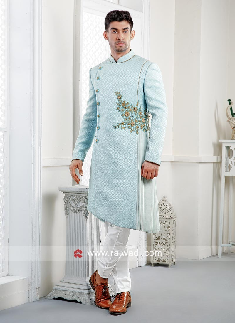 Stylish Sky Blue Wedding Indo Western