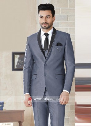 Stylish Slate Grey Color Suit With Matching Bottom