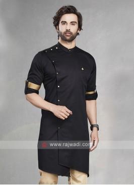 Stylish Solid Black Cotton Silk Kurta