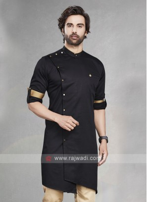 Stylish Solid Black Cotton Silk Kurta