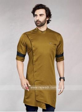Stylish Solid Golden Brown Cotton Silk Kurta