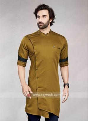 Stylish Solid Golden Brown Cotton Kurta