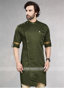Stylish Solid Mehndi Green Cotton Silk Kurta