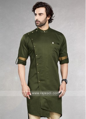 Stylish Solid Mehndi Green Cotton Silk Kurta