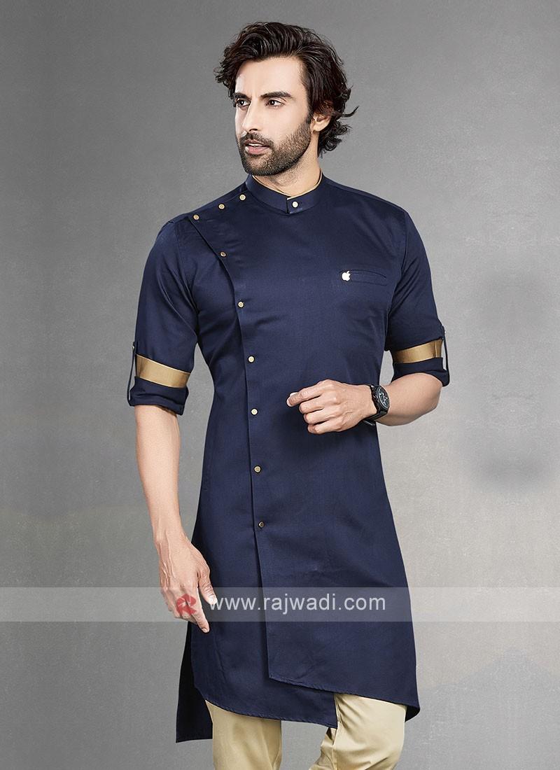 Stylish Solid Navy Blue Cotton Silk Kurta