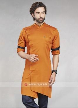Stylish Solid Orange Cotton Silk Kurta