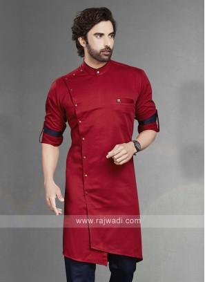 Stylish Solid Red Cotton Silk Kurta