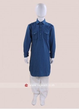 Stylish Teal Color Pathani For Kids
