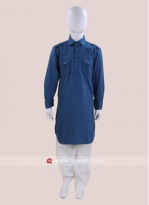 Stylish Teal Color Pathani For Kids