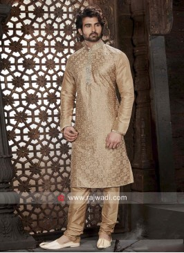Stylish Golden Cream Kurta Pajama