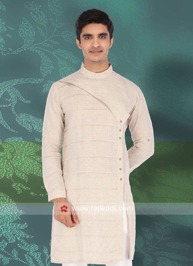 Stylish Cream Linen Fabric Kurta
