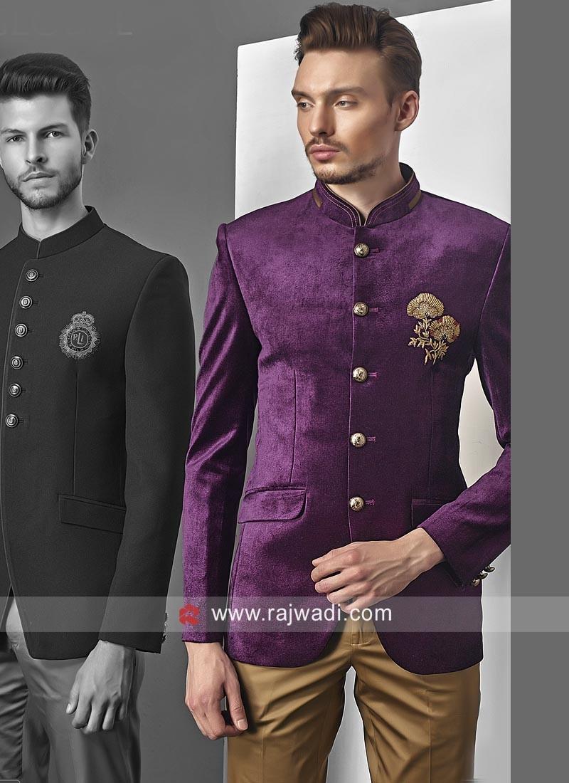 Stylish Velvet Fabric Jodhpuri Set