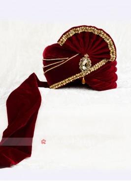 Stylish Velvet Grooms Turban For Wedding