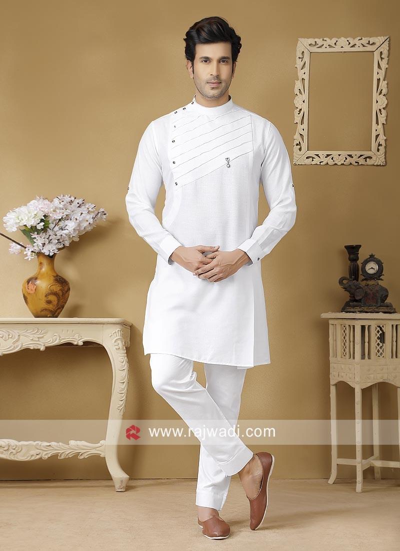 Stylish White Color Kurta Set