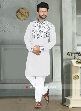 Stylish White Color Pathani