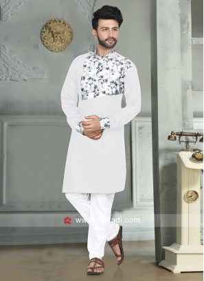 Stylish White Color Pathani For Eid